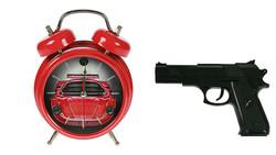 """Часы-будильник """"Меткое пробуждение"""" с пистолетом 15*7*20см (уп.1/12шт.)"""
