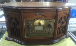 Музыкальный центр-ретро. Функции: винил, AM/FM, CD, аудио, USB/SD 56*36*30см (уп.1/1шт.)