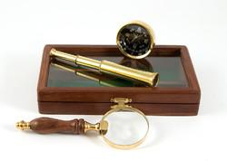 """Настольный набор """"Мореплаватель"""": лупа, компас, подзорная труба 16*11*4см (уп.1/24наб.)"""