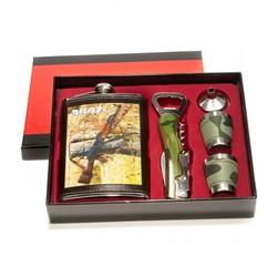 Подарочный набор: фляжка 270мл, 2 стаканчика, воронка, открывалка-штопор (уп.1/60наб.)