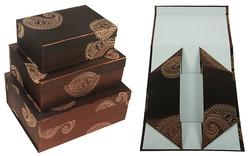 Комплект коробок из 3шт. (тафта с вышивкой) 31*25*13см (уп.1/8комп.)