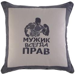 """ПОДУШКА """"МУЖИК ВСЕГДА ПРАВ"""" 40Х40, СЕРЫЙ, ВЫШИВКА"""