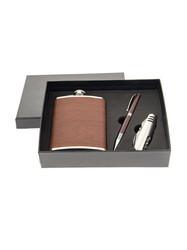 Подарочный набор: фляжка 230 мл, нож складной, ручка (уп.1/48шт.)