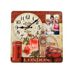 "Коллаж-ключница с часами ""Лондон"" 40*40см (уп.1/12шт.)"
