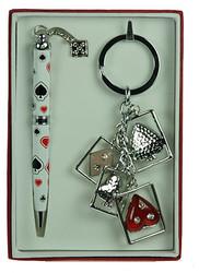 """Подарочный набор """"Карты"""": ручка, брелок 13*9*1см (уп.2/100наб.)"""