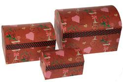 """Комплект коробок-сундучков из 3-х шт. """"С любовью"""" (с глитером) 25*17*17см (уп.1/2/12комп.)"""